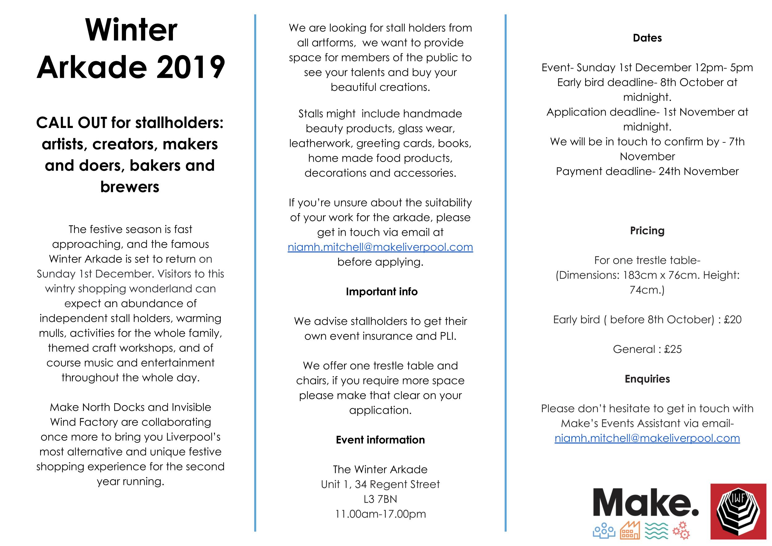 Winter Arkade stallholders call out information
